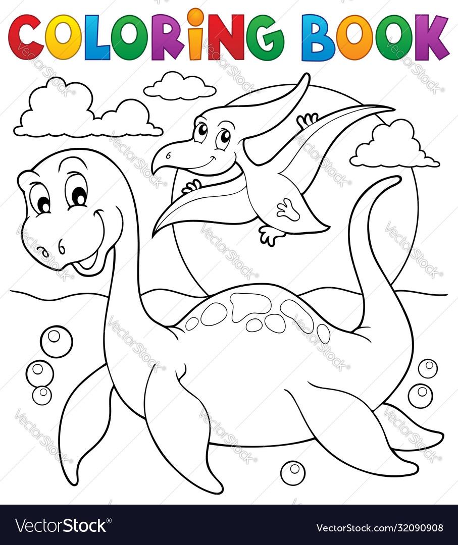 Coloring book dinosaur theme 7