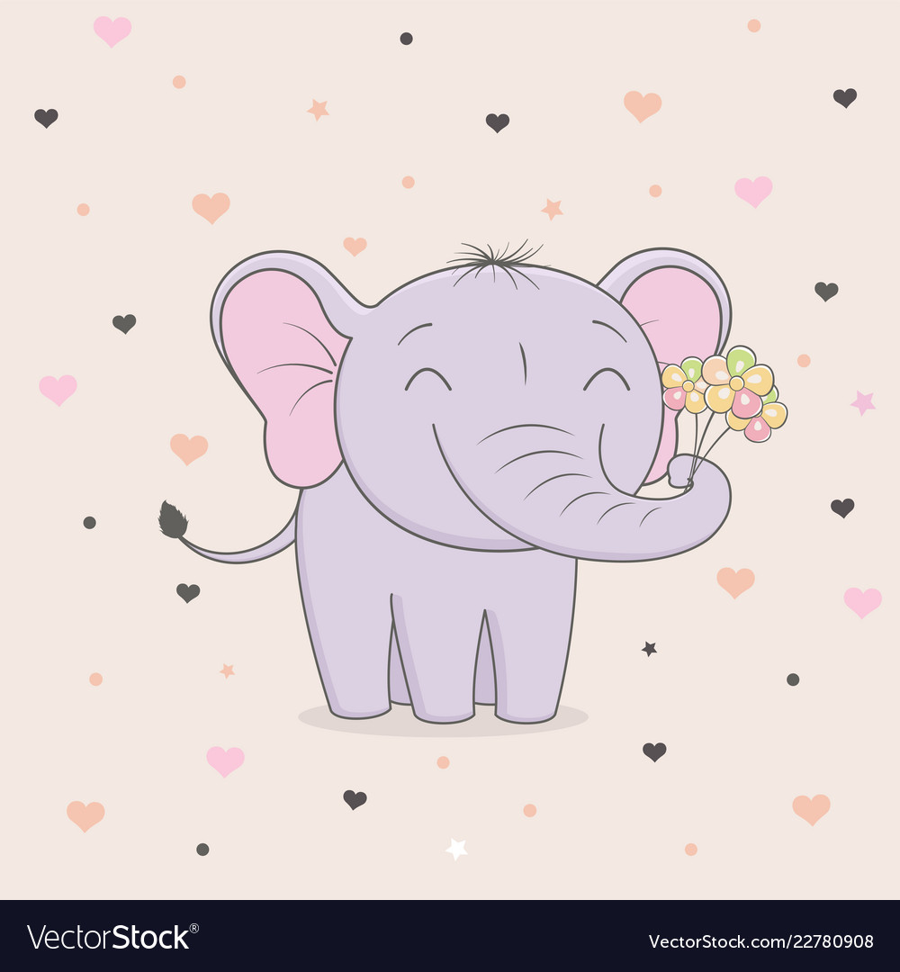 Cute elephant with flowers on background of hearts