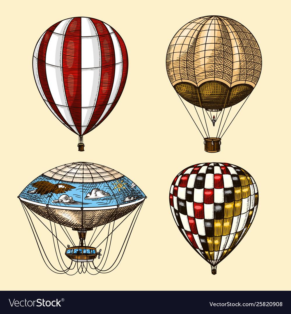 Hot air balloons retro flying airships