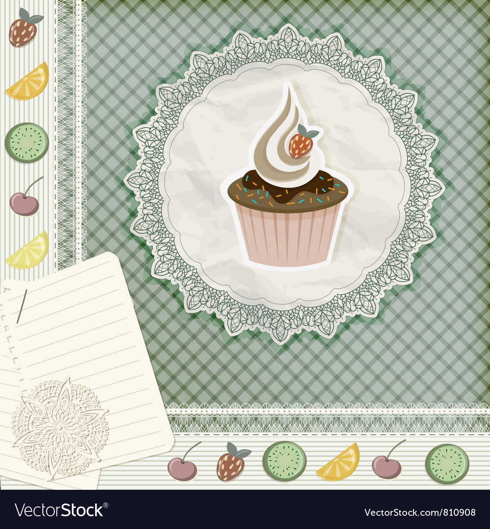 Invitation template with cupcake