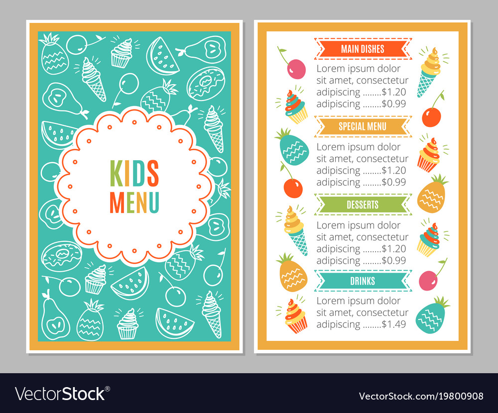 Kids menu template royalty free vector image vectorstock kids menu template vector image maxwellsz