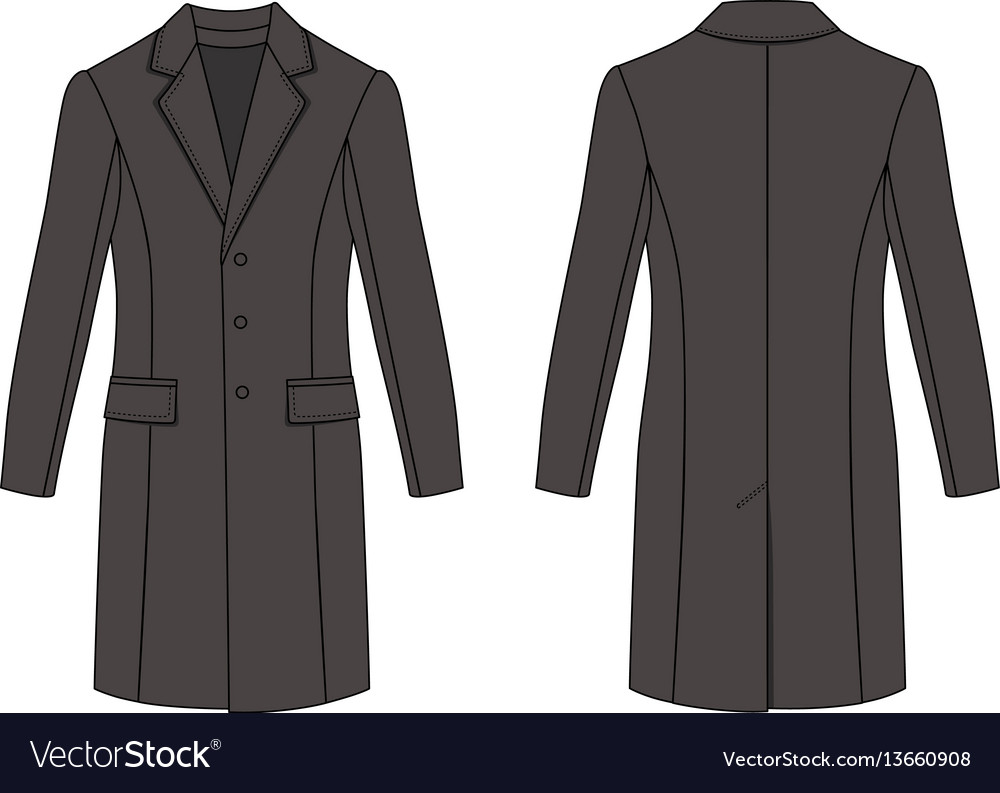 Mans coat outlined template