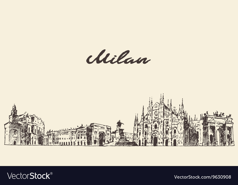 Milan skyline Italy hand drawn sketch