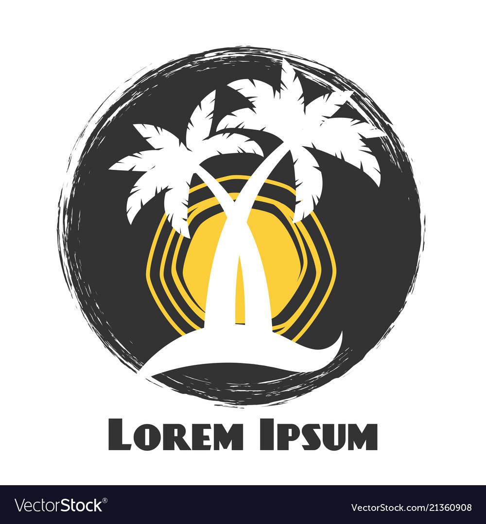 Palm tree vintage grunge summer logo