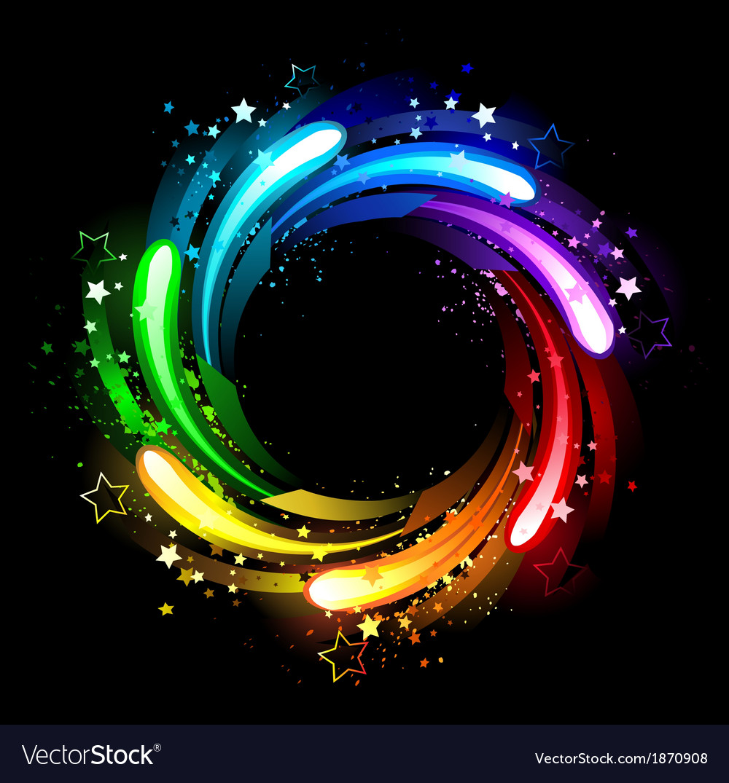 Round rainbow banner vector image