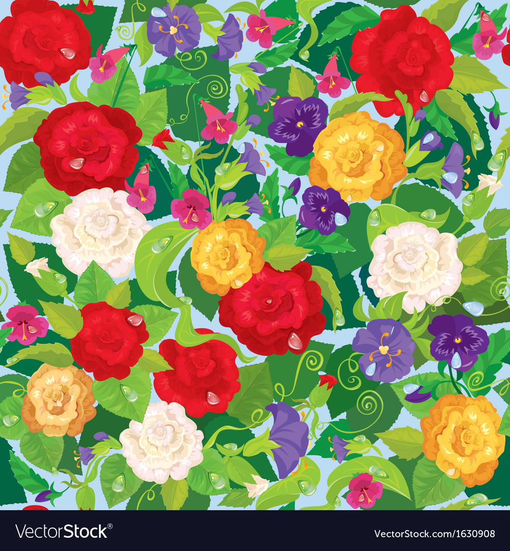 Seamless Background With Beautiful Flowers Rose Vector Image