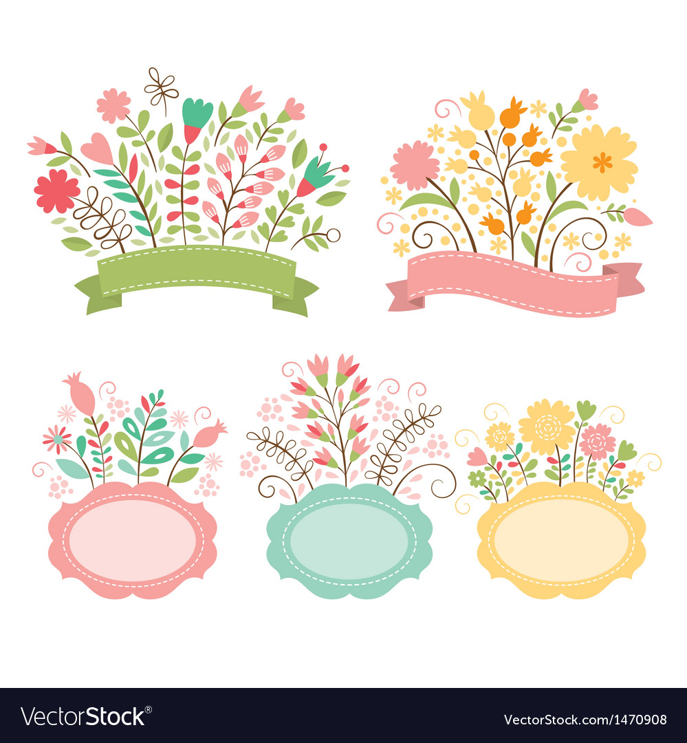 Set of floral bouquets and romantic frames
