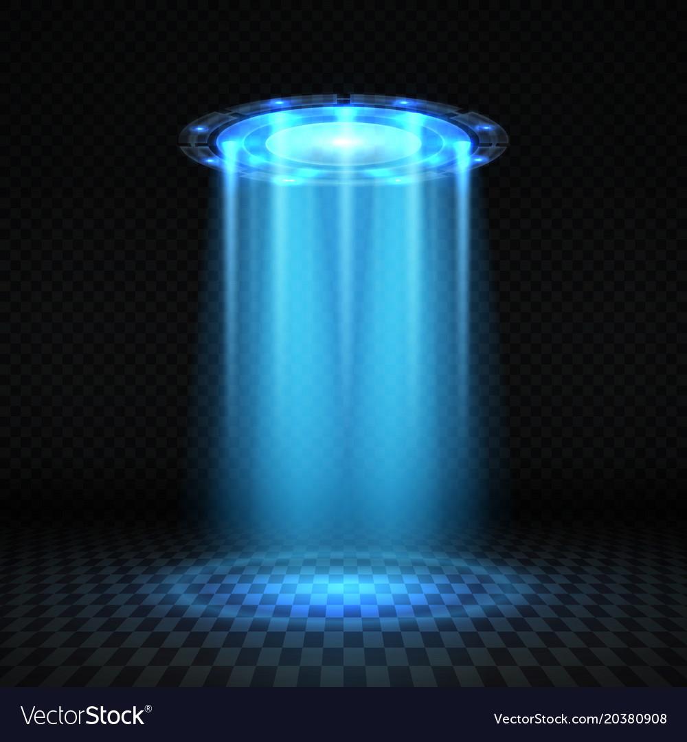 ufo blue light beam futuristic alien spaceship vector image