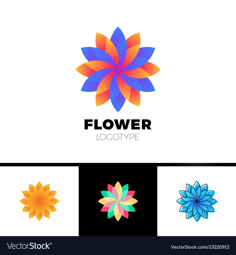 Abstract flower resort spa logo icon isolated in