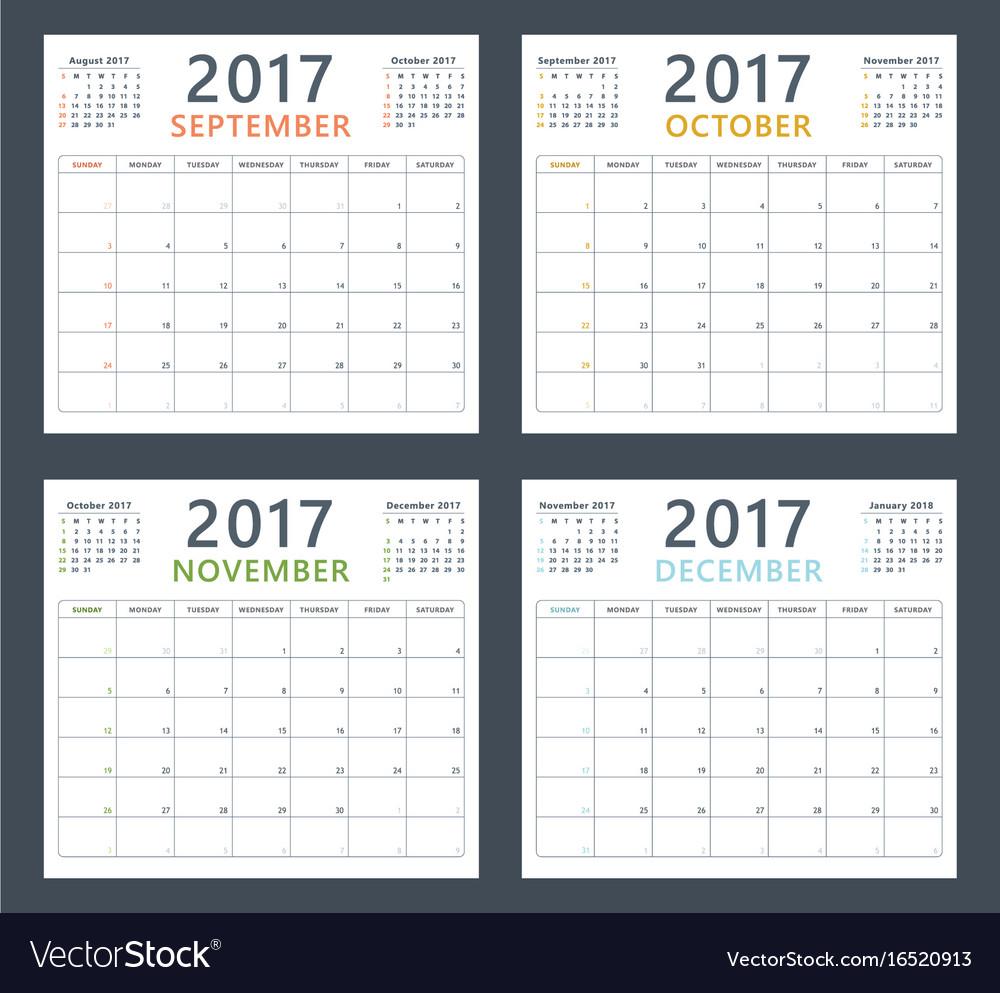 Calendar planner 2017 on september october vector image