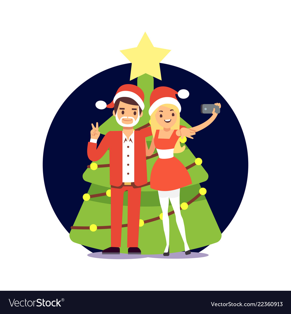Cartoon character couple in santa clothers taking