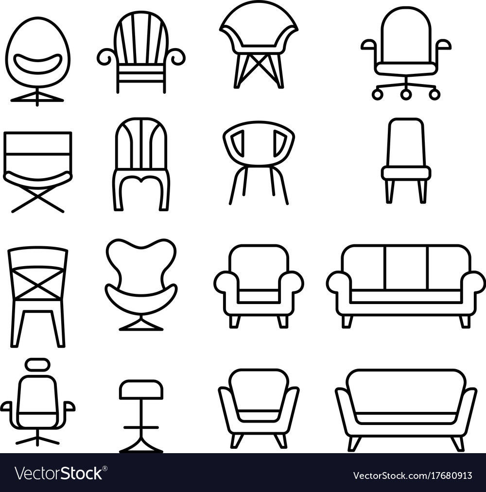 Chair icon set in thin line style vector image