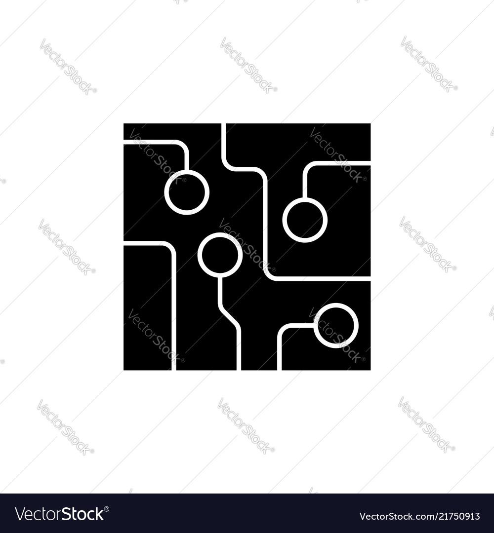 Circuit board technology icon black on white