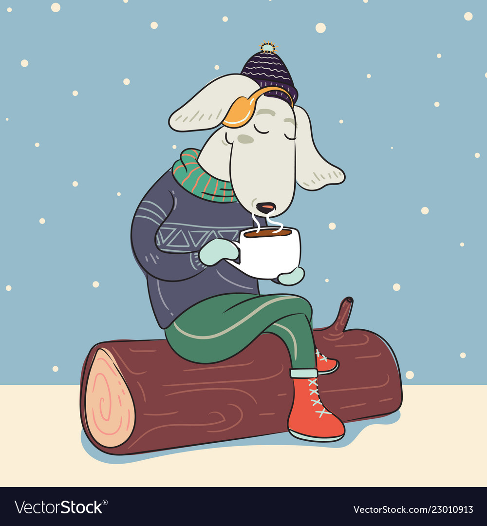 Dog in winter warm sweater and with cup hot