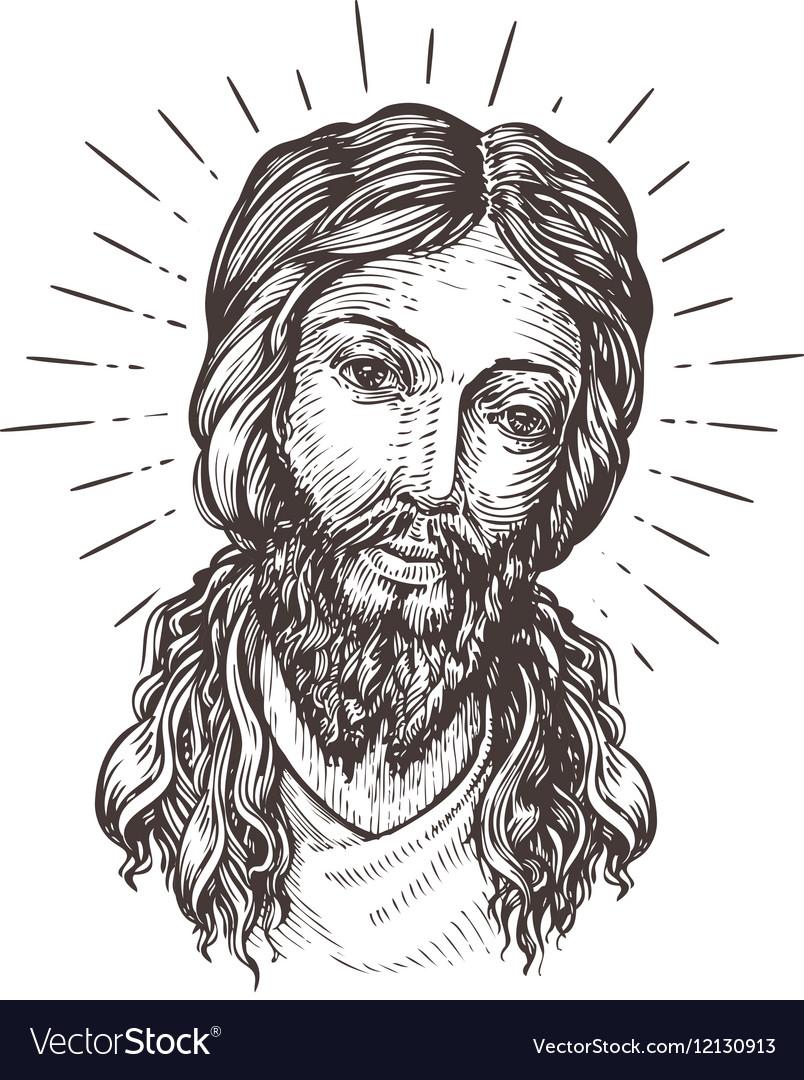 Hand drawn portrait of jesus christ sketch vector image