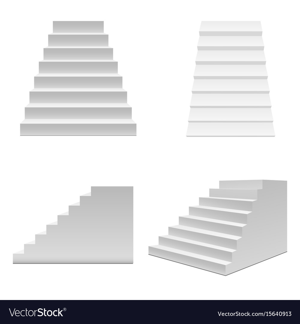realistic template blank white staircase or stairs