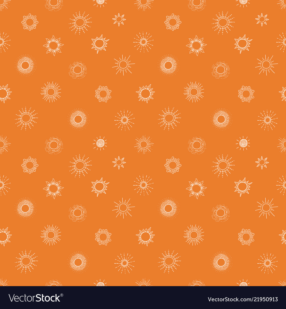 Seamless background with doodle sun on orange