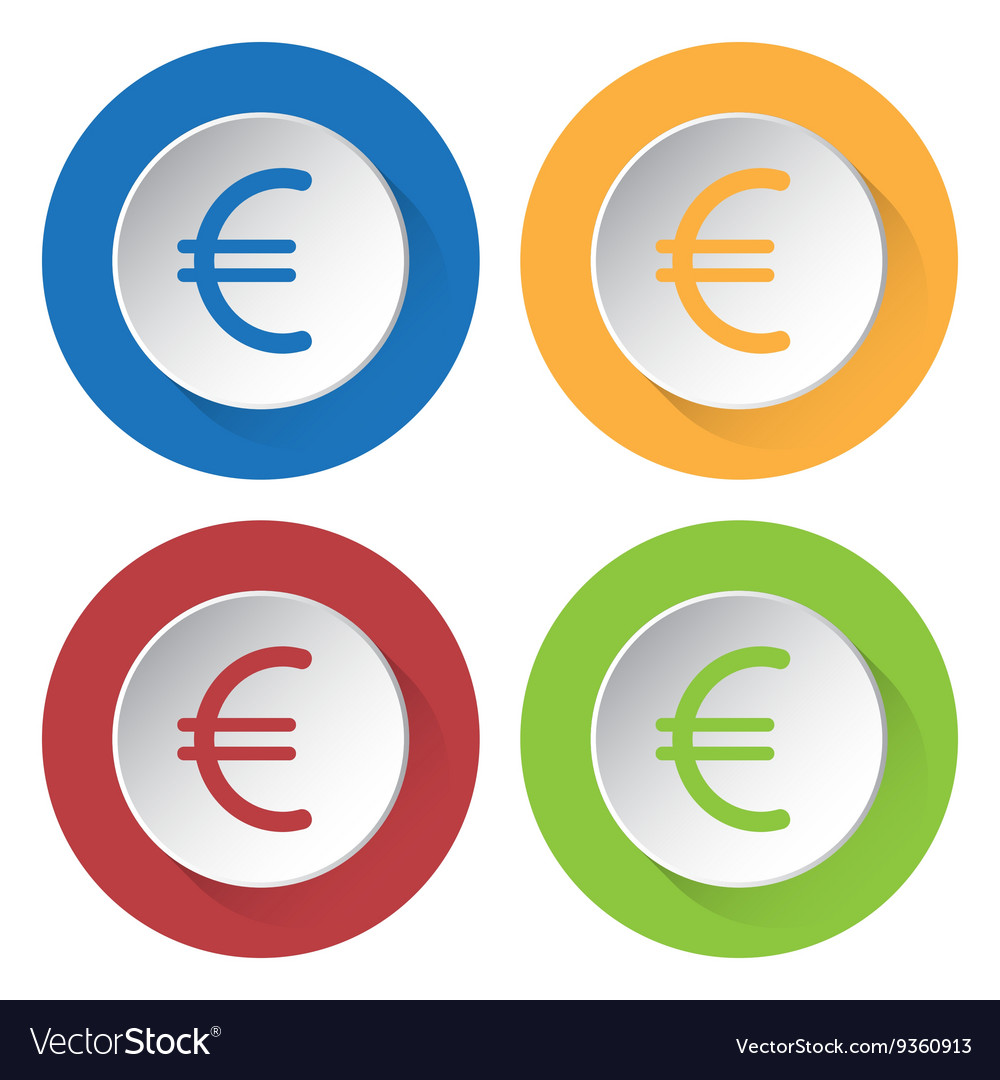 Set Of Four Icons Euro Currency Symbol Vector Image