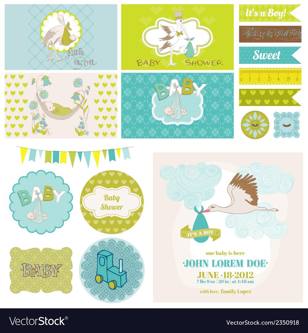 Baby Shower Stork Theme Set vector image