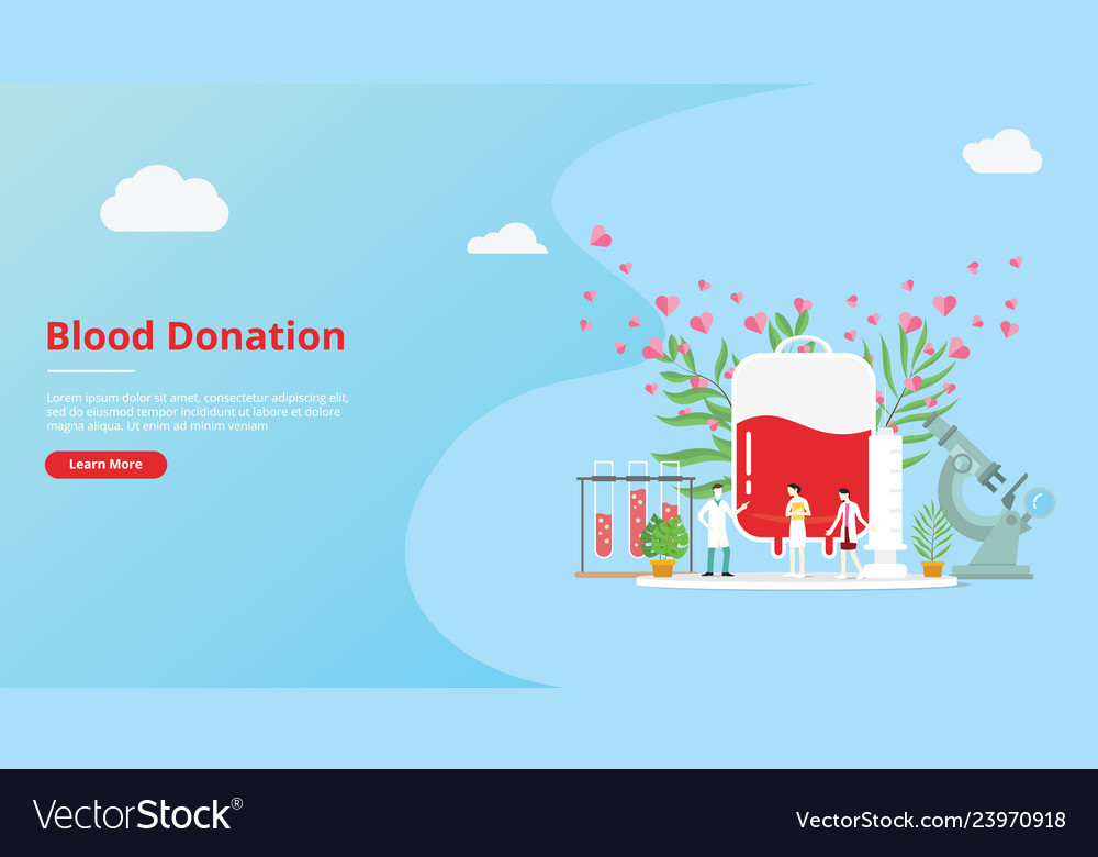 Blood donation concept for website template