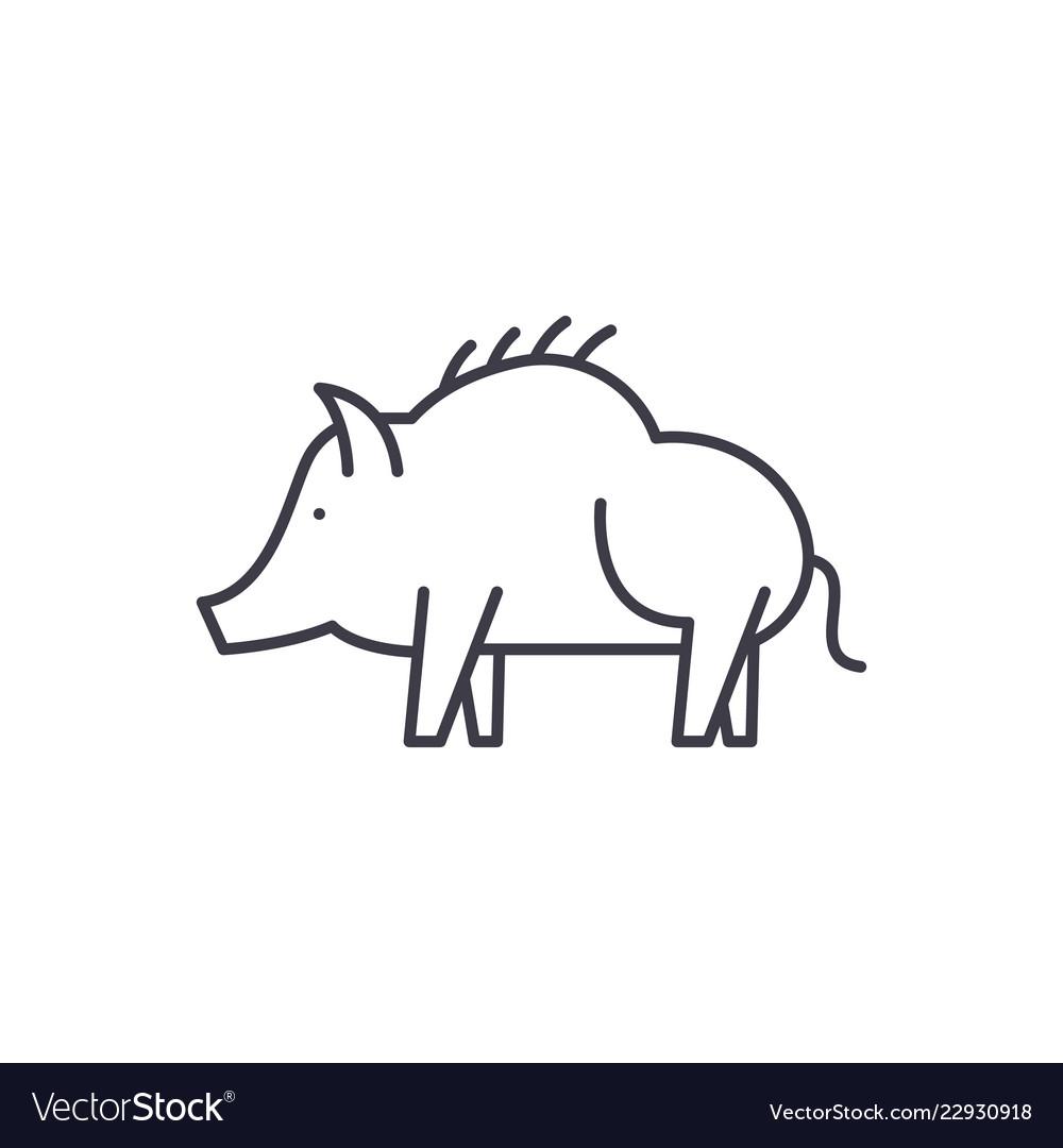 Boar line icon concept boar linear