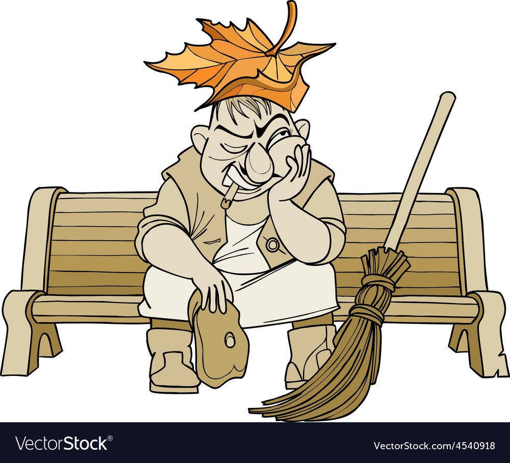 Cartoon janitor man sitting on a bench vector image