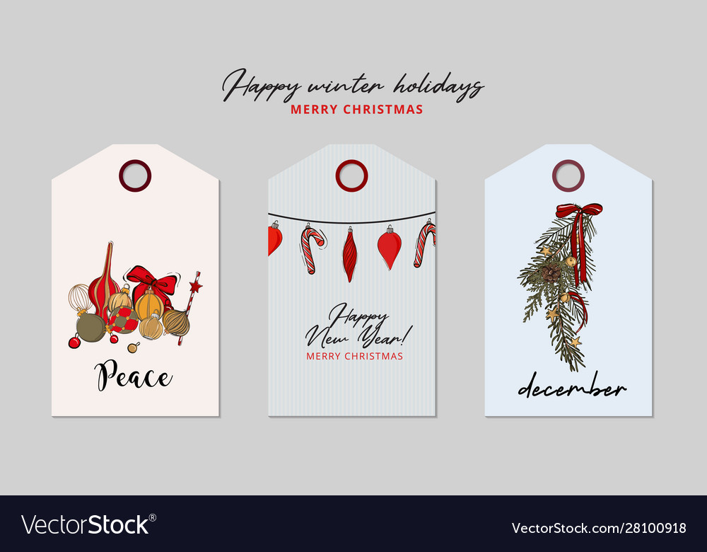 Christmas greeting tag set bauble garland holiday