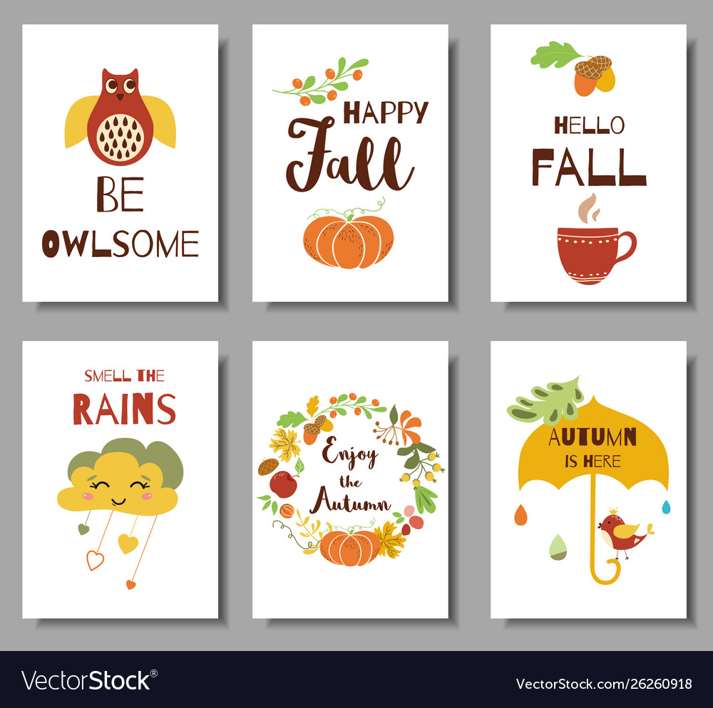 Collection autumn typography flyer template