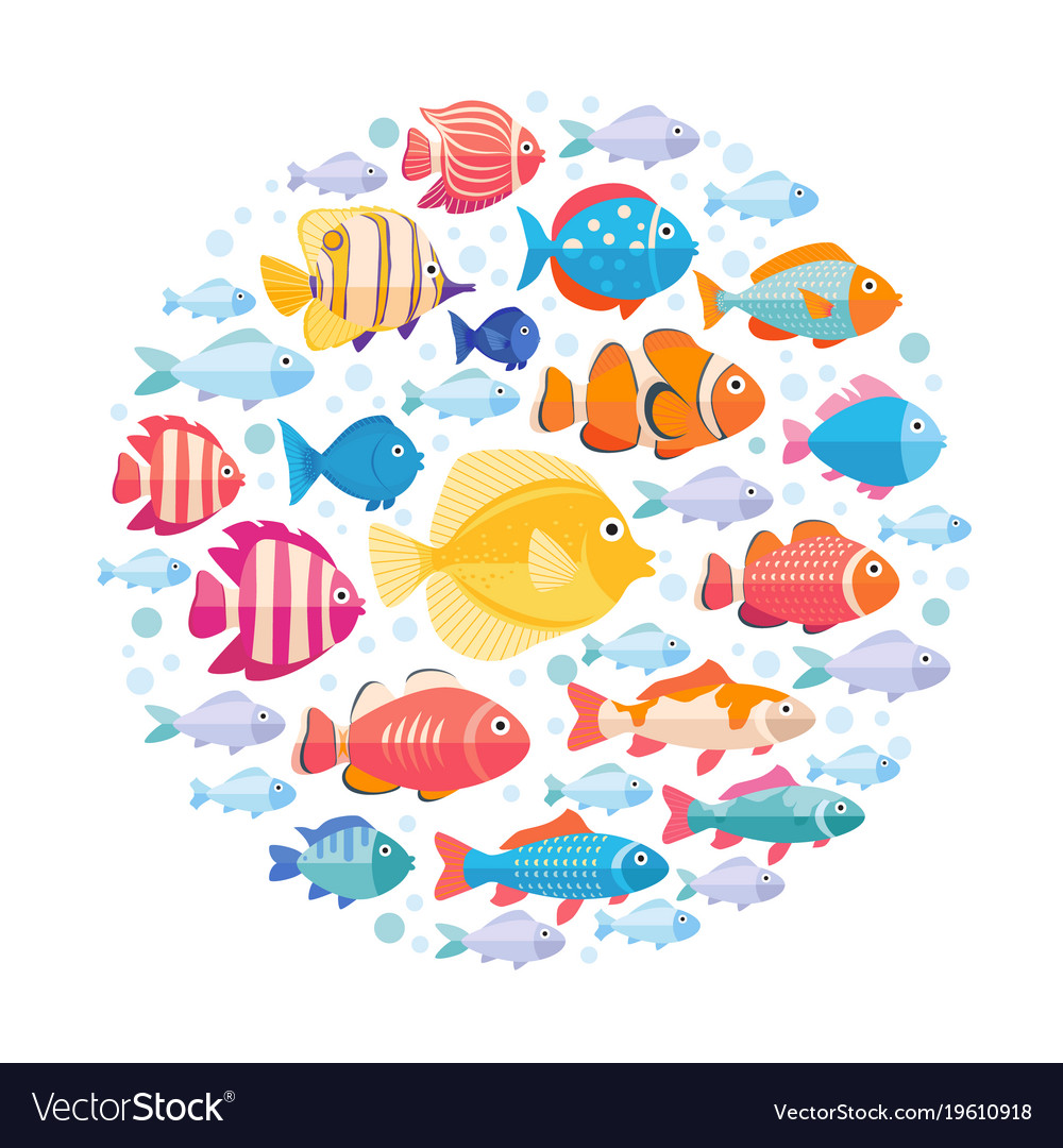 Colorful aquarium fish set in circle