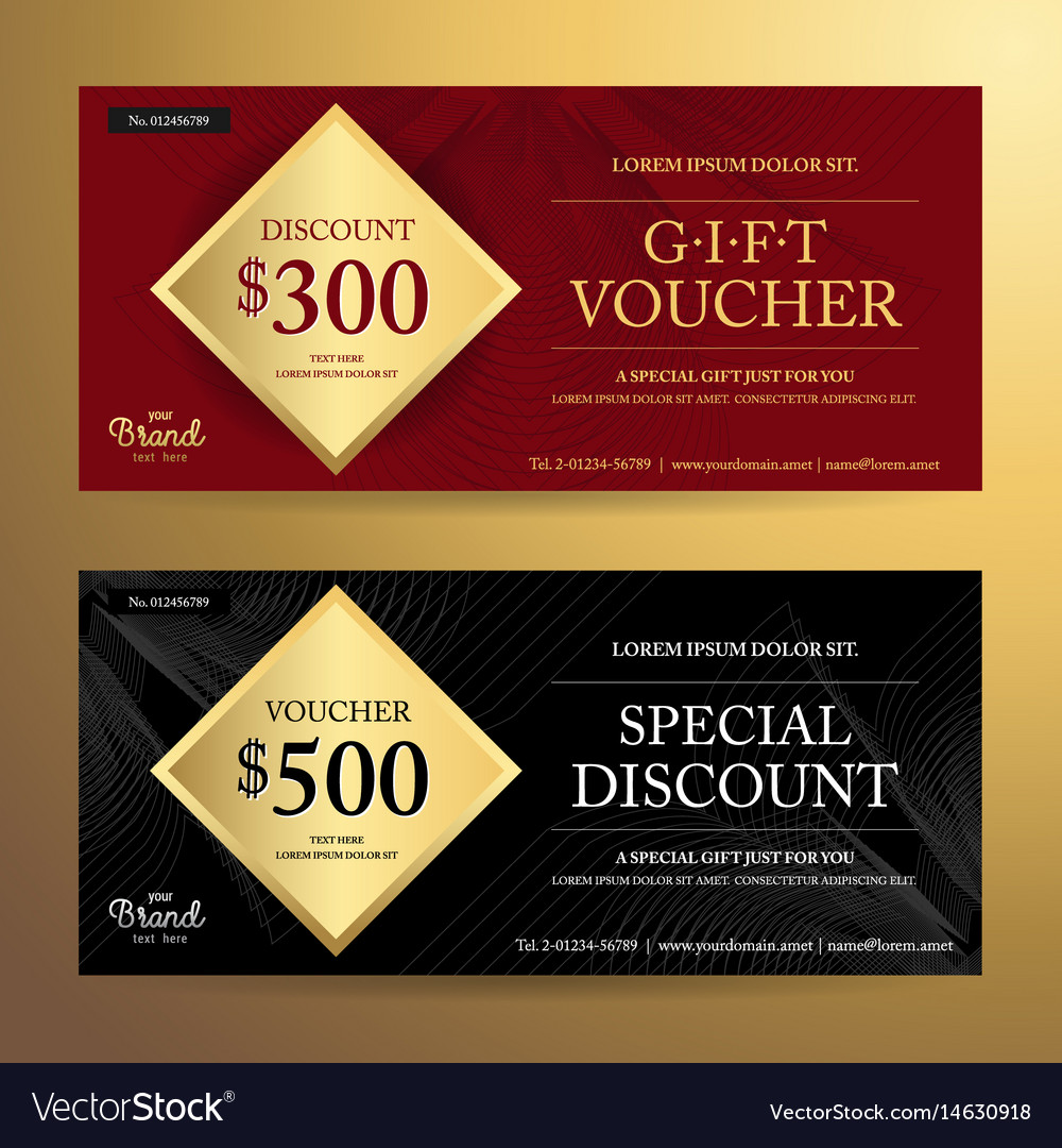elegant gift voucher or discount card template vector image