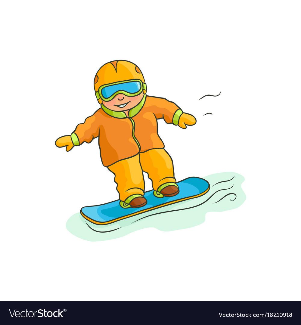 Flat boy teen kid snowboarding