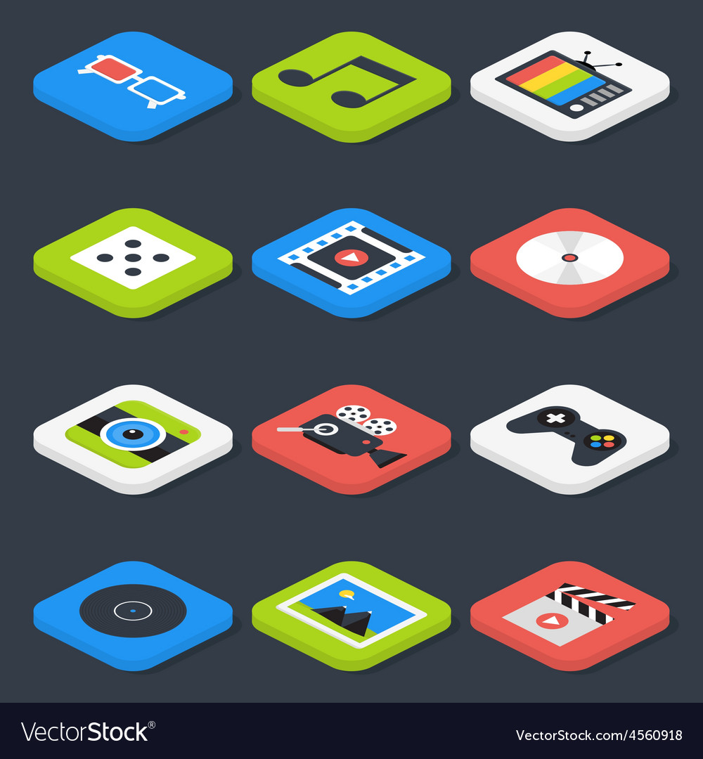 Flat Multimedia Video Audio Isometric Icons Set