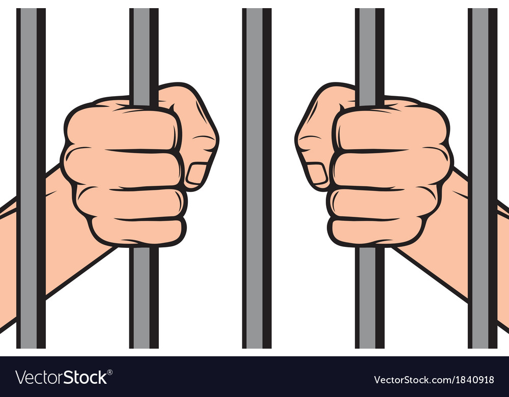 Hands holding prison bars