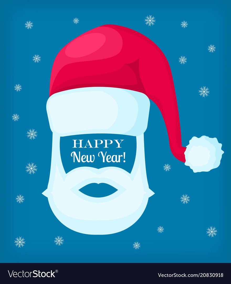 Happy new year santa claus cap and white beard