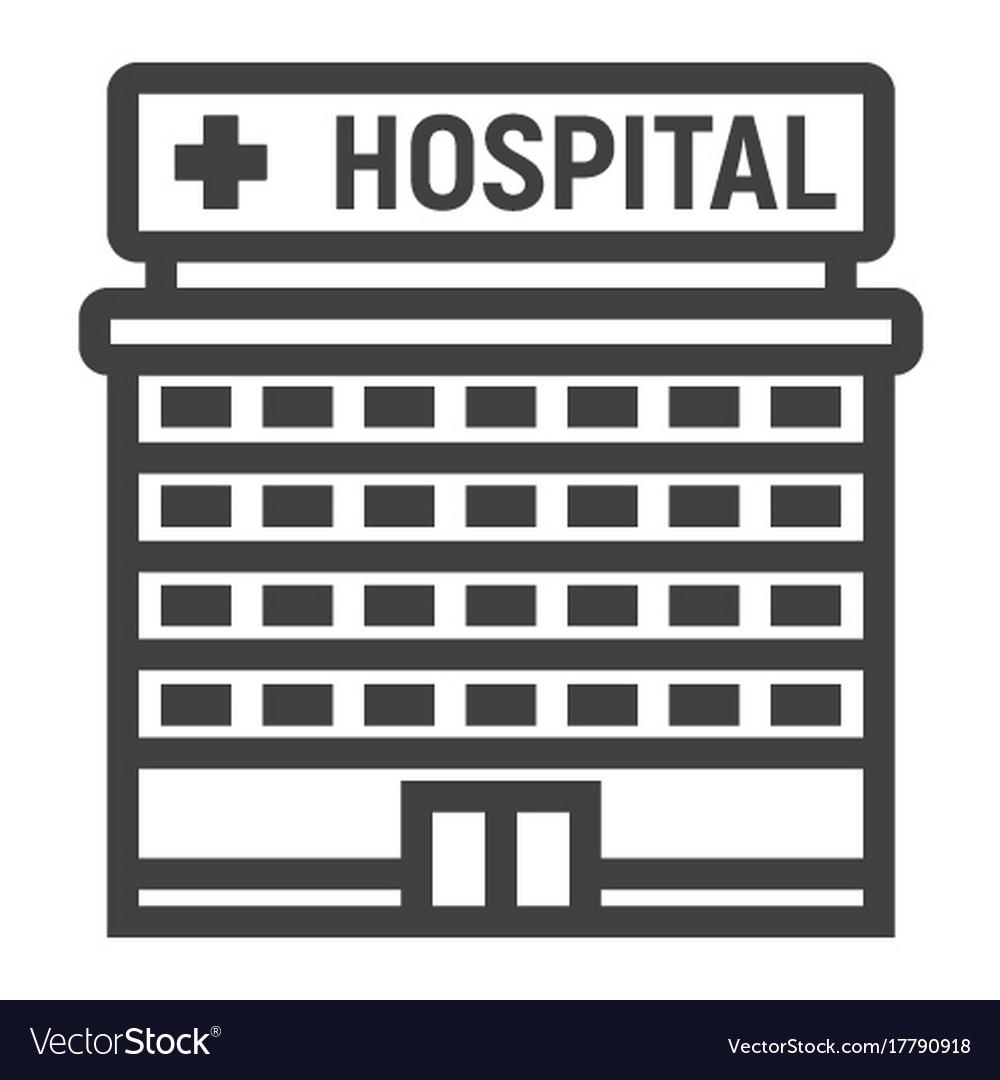 Hospital building line icon medicine