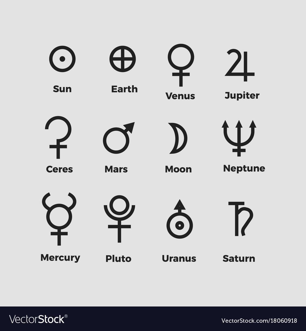 Planet Symbols Royalty Free Vector Image Vectorstock