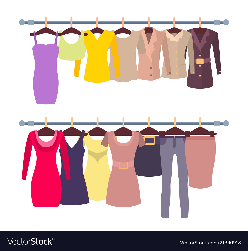 Racks with female tops and dresses on hangers