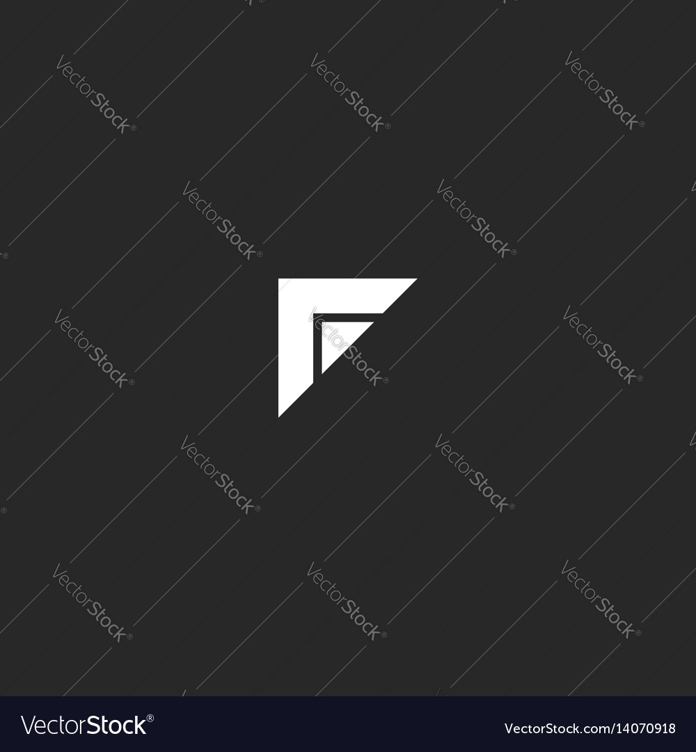 Simple f letter logo black and white two triangle