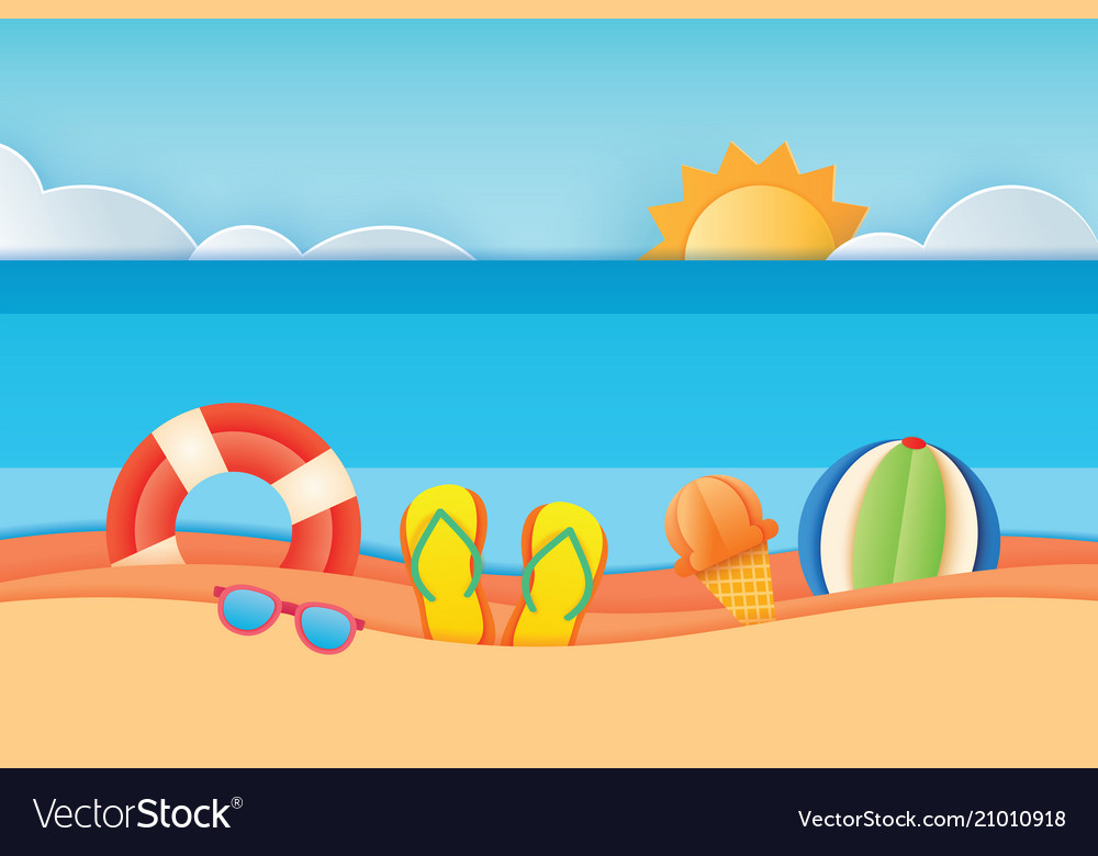 Summer time sea view with equipment placed on the