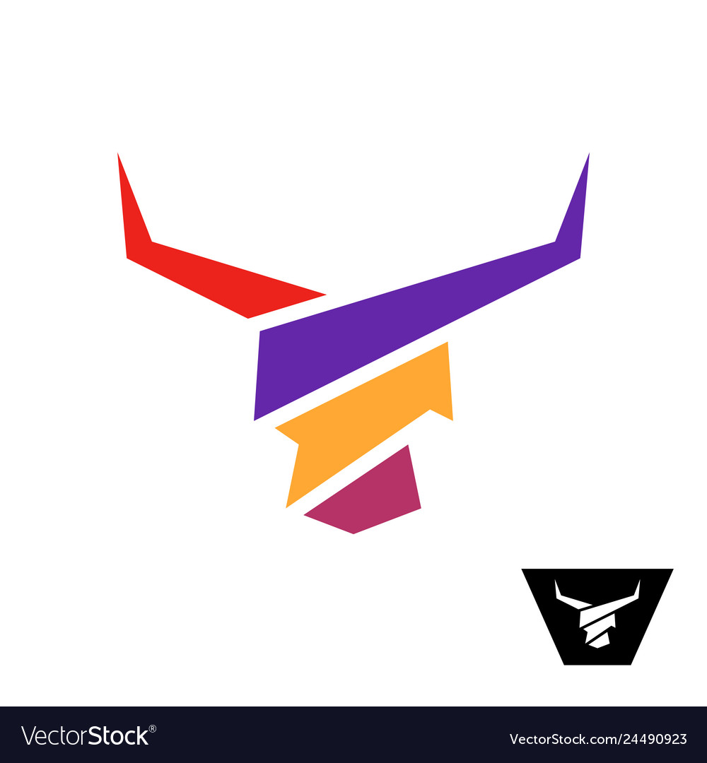Bull head colorful logo bull with long horns