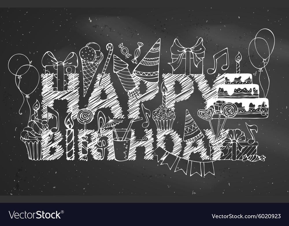 Chalk Happy Birthday blackboard background