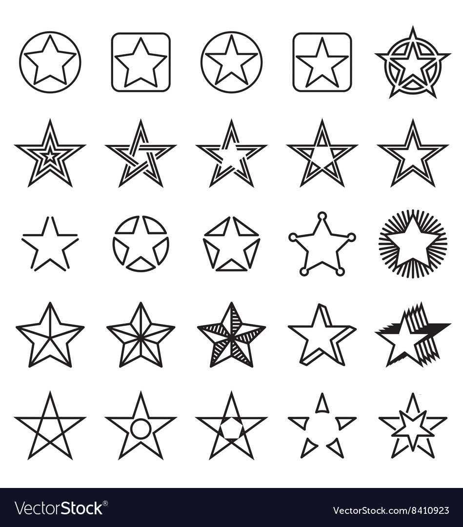 Collection of 25 linear star icons