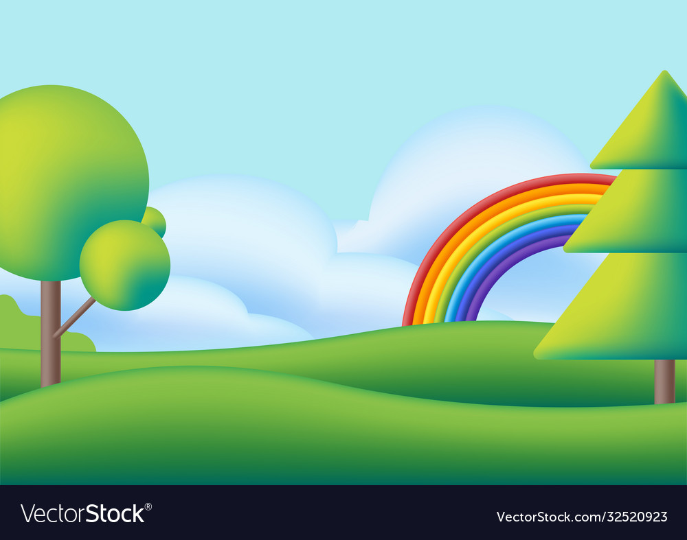 Cute scape with rainbow trees and green meadow
