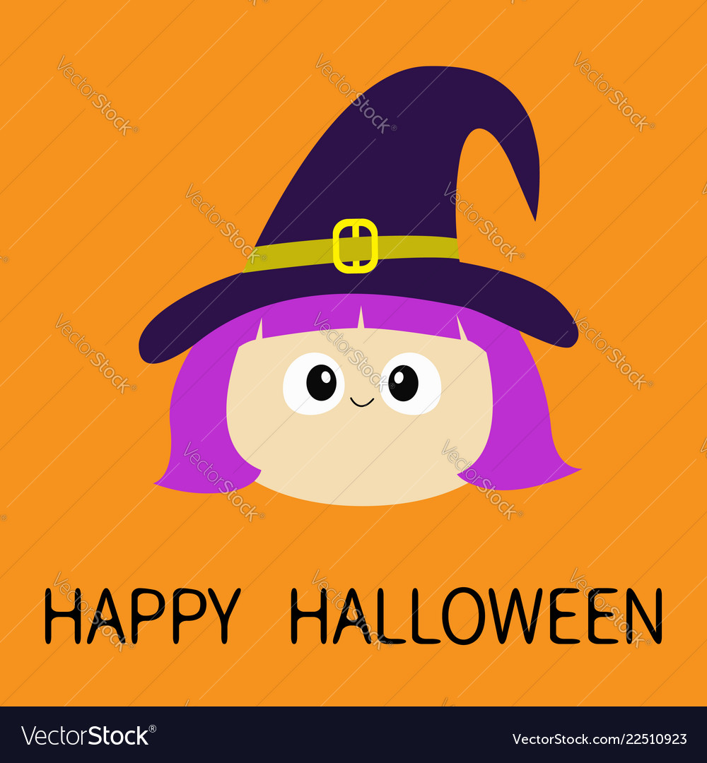 Happy halloween witch girl face wearing curl hat