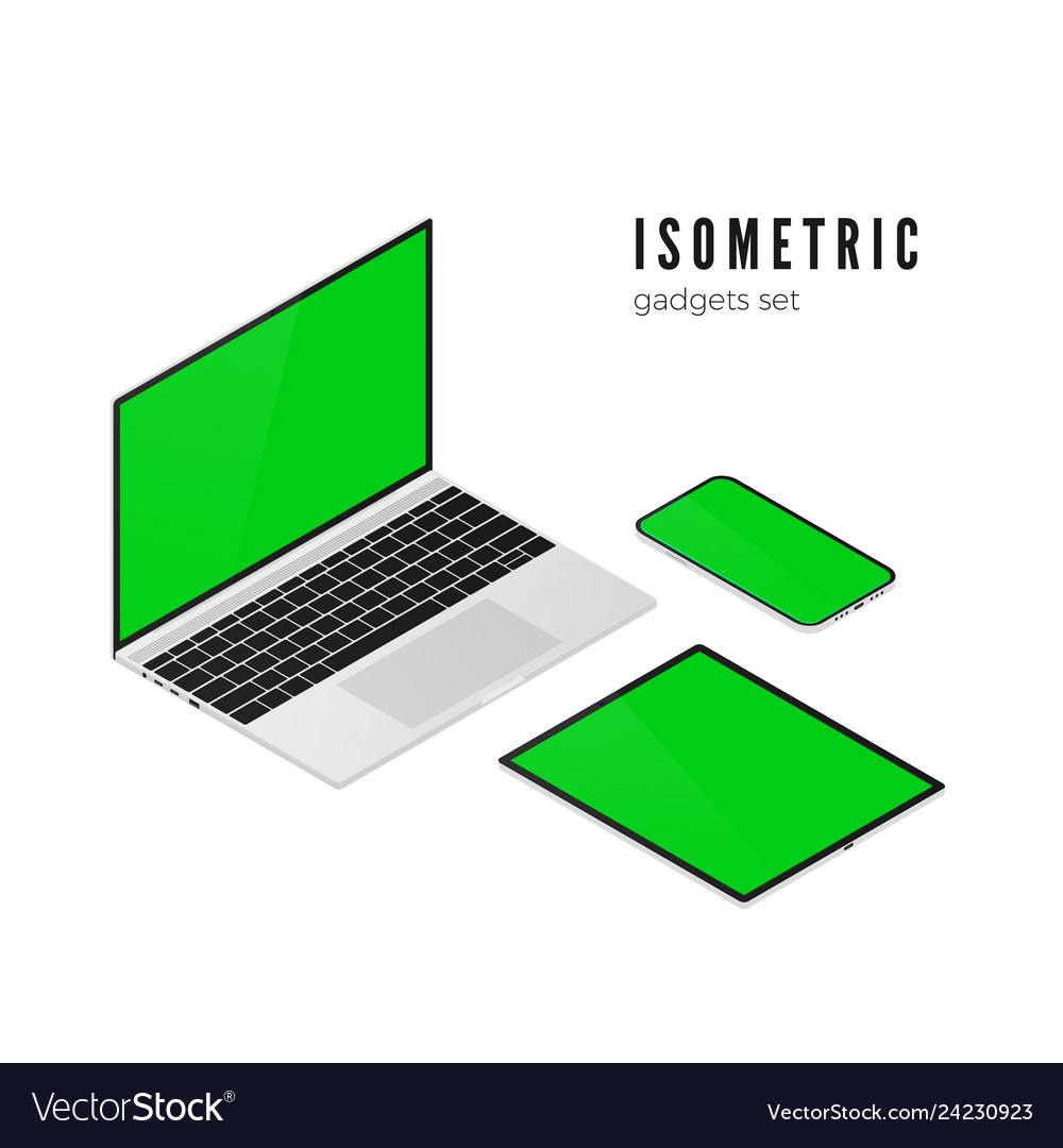 Laptop and mobile phone tablet isometric view