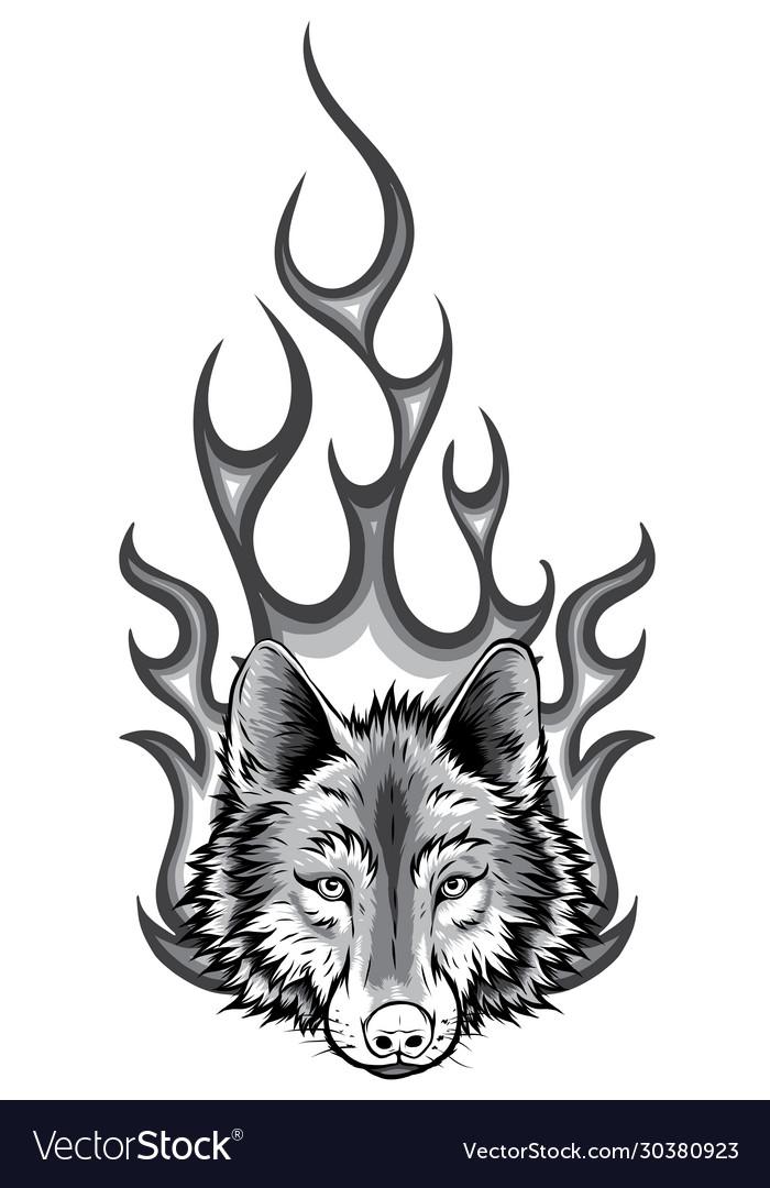 Monochromatic wolf flaming fire logo mascot