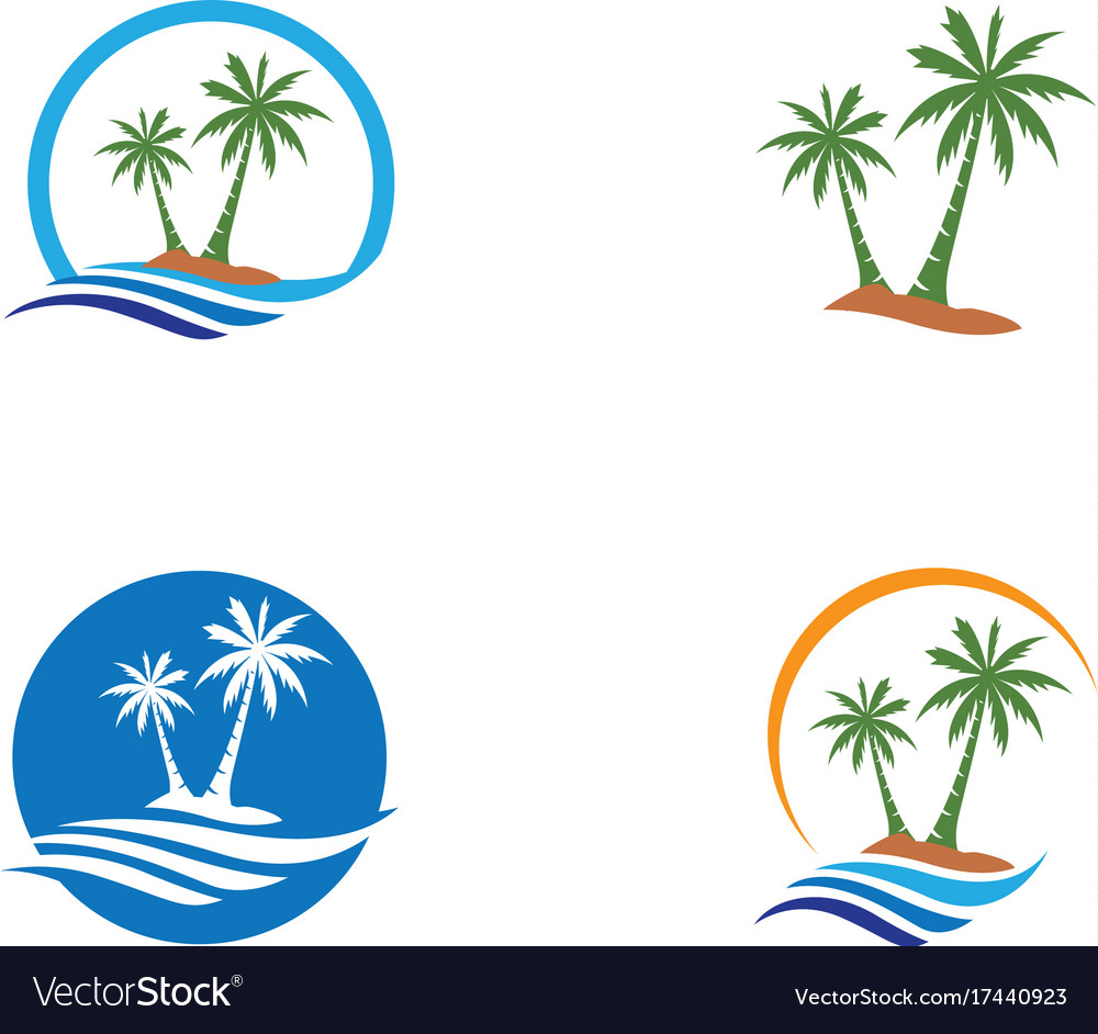 palm tree logo template royalty free vector image rh vectorstock com palm tree leaf free vector palm tree vectors free download