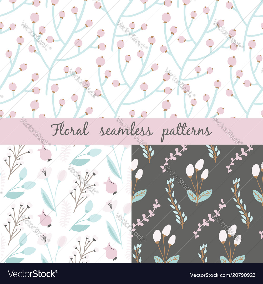Set of floral seamless pattern seamless pattern vector image