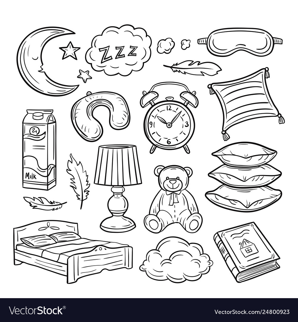 Sleeping doodle set sleep pillow feathers dream