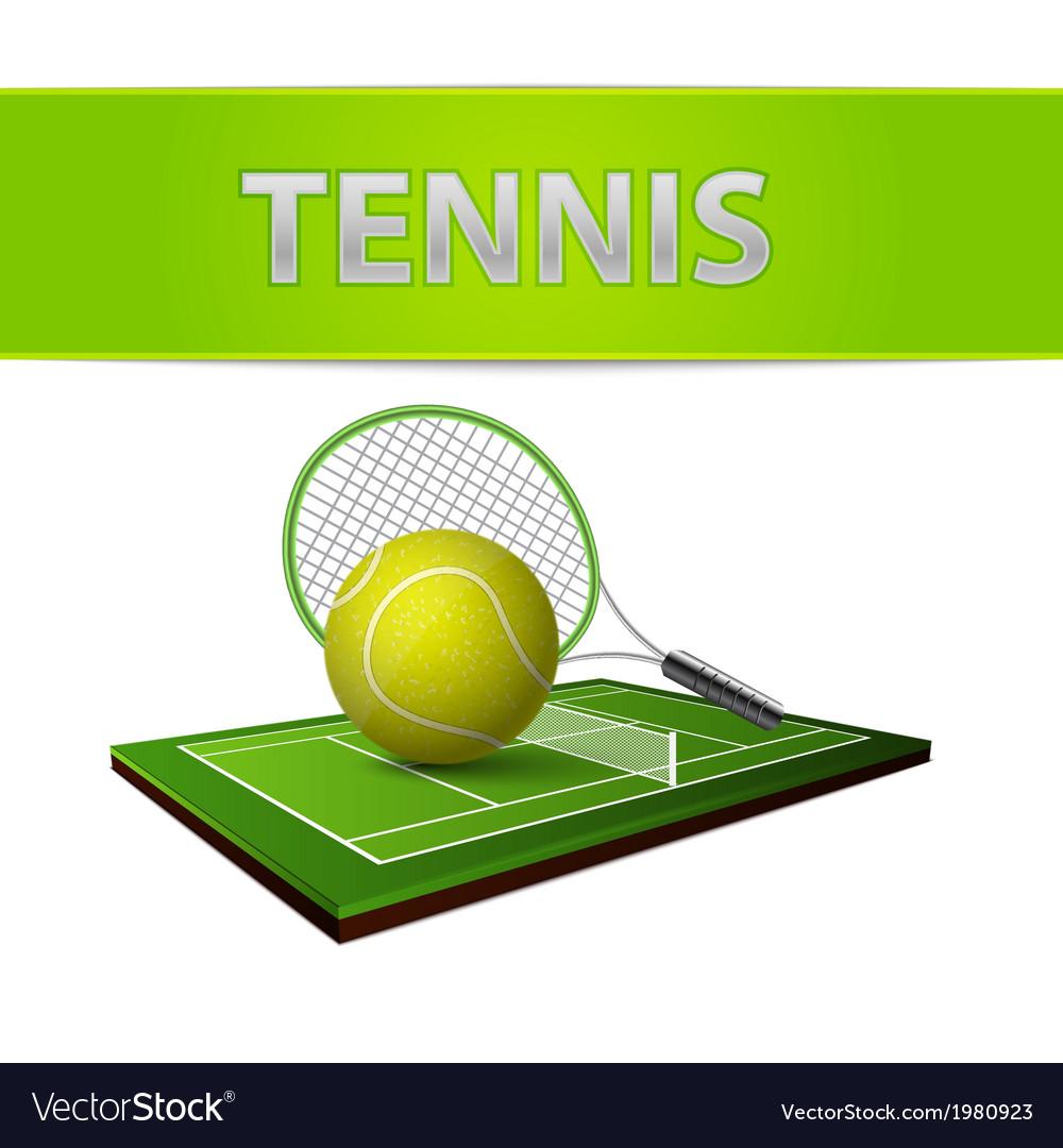 Tennis ball and green grass field emblem vector image